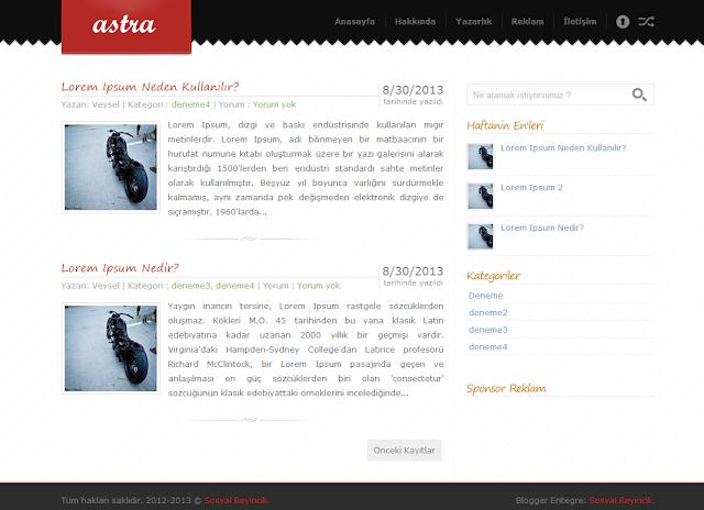 Astra Blogger Teması
