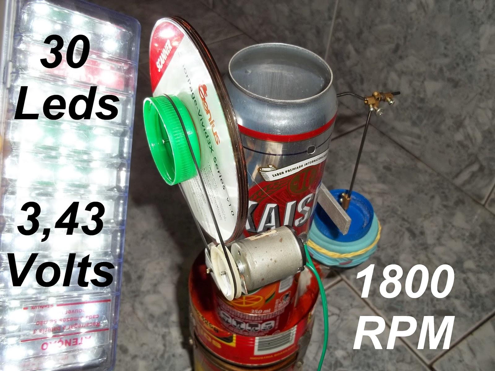 motor Stirling caseiro em latas de aluminio, 1800 rpm, rápido, manual do