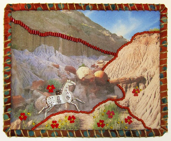 Robin Atkins, Travel Diary Quilt, detail, T Roosevelt Natl Park