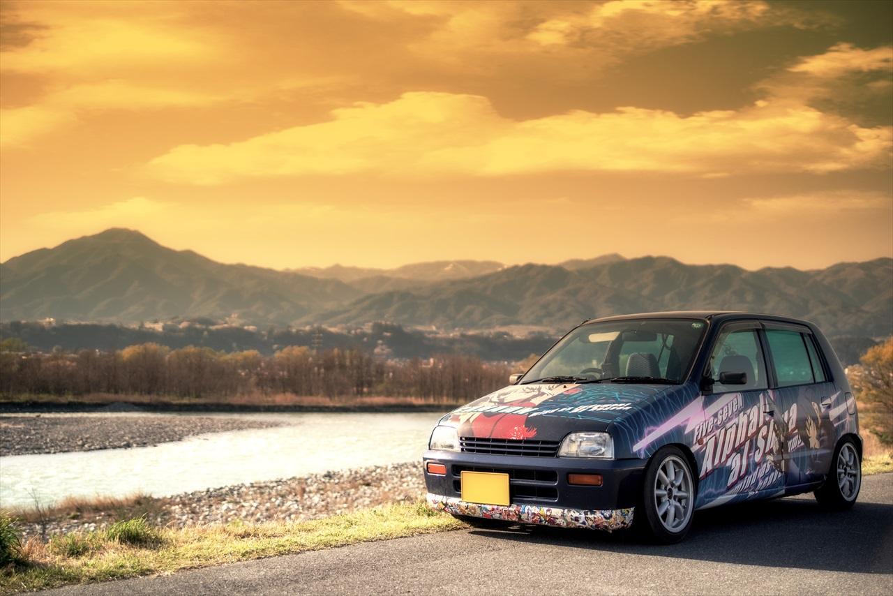 Suzuki Alto, japoński kei car, mały samochód, mały silnik, turbo, grafika