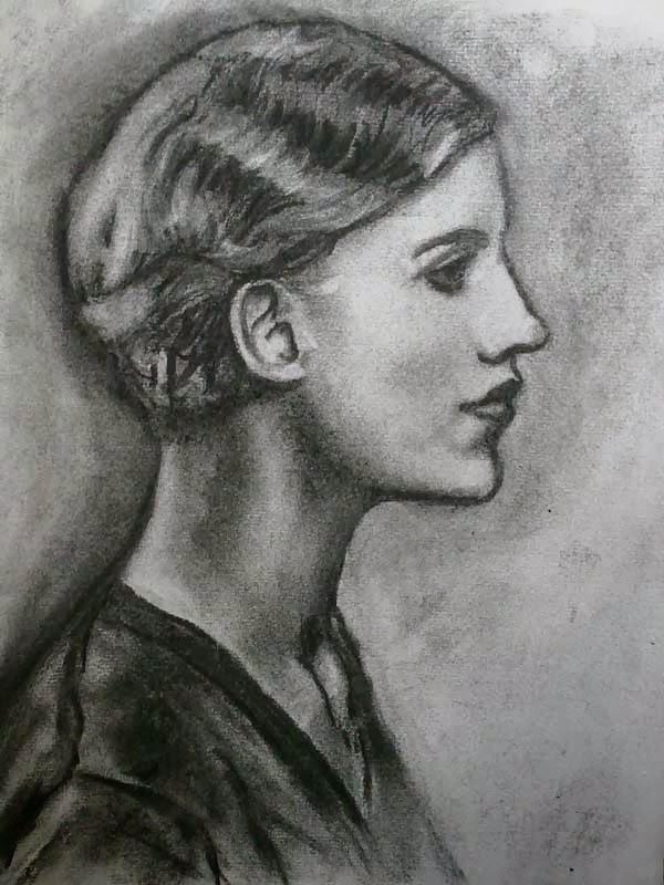 retrato realizado por man ray copiado en carboncillo