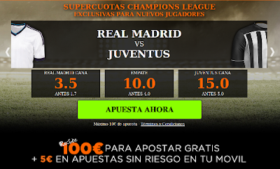 888Sport: Supercuota 3.5;10;15 Real Madrid vs Juventus – 13 mayo