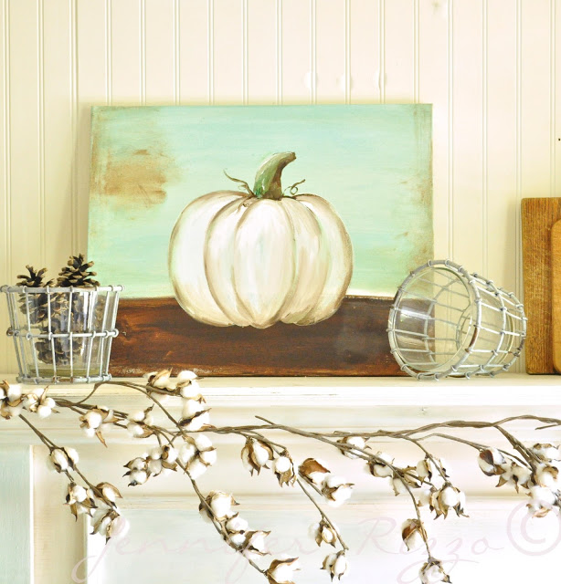 Jennifer Rizzo gives step by step directions on how to make this gorgeous pumpkin painting for your fall mantle. It's a beginners tutorial so you don't have to be an artist to try this one!