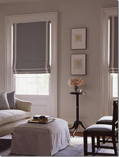 Grey and white roman shades