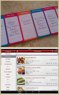 Picture of a weekly menu planning paper pad and a recipe app called Paprika