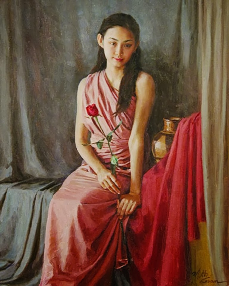 GUAN ZEJU ( Pintura) Pinturas+realistas+femeninas-en-oleo
