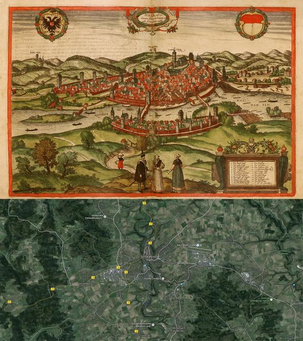 Old Cities Schwäbisch Hall Germany Map Then And Now - Germany map then and now