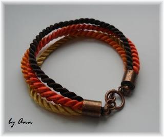 bransoletka sznurek skręcany brąz pomarańcz żółty