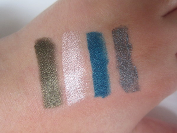 Swatches Avon Supershock Gel Liners Khaki Shimmer, Flash, Aqua Pop, Steel