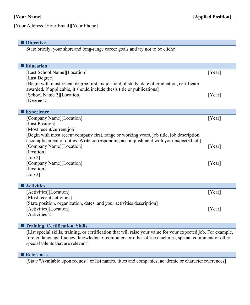 Graduateu0027s Chronological Resume Template