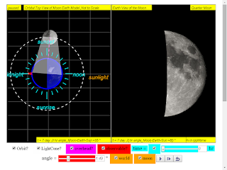 when day =7, it is quarter moon click to run: EJSS Moon Phases Model offline: DOWNLOAD, UNZIP and CLICK *.html to run source: EJSS SOURCE CODES original author: Todd Timberlake, lookang author of EJSS version: lookang