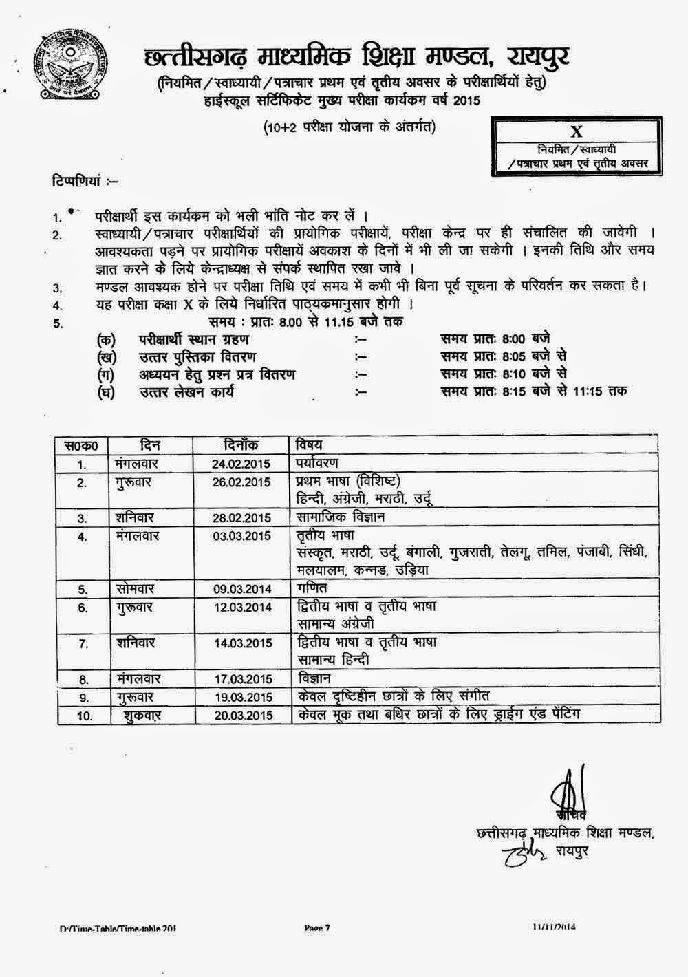 CGBSE 10th Board Exam Date Sheet 2015