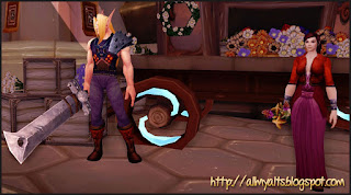 Cloud and Aerith in World of Warcraft