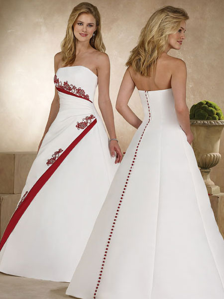Elegant Bridal Style: Timeless and Elegant Red and White Wedding Dress