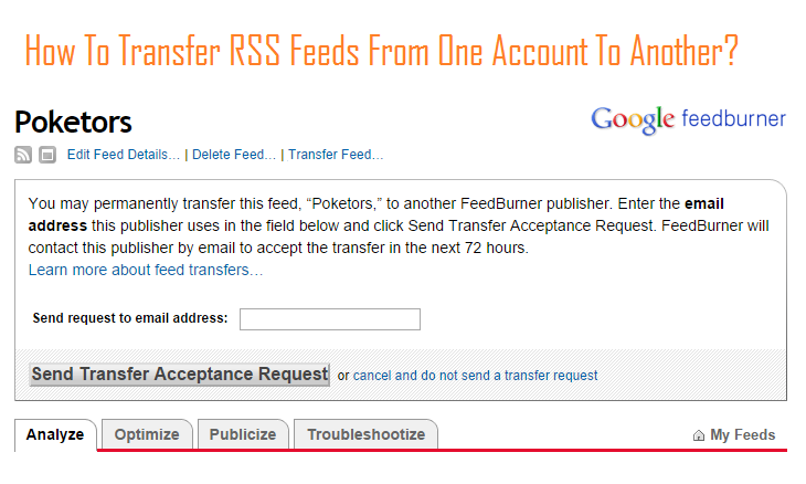 How To Transfer RSS Feeds From One Account To Another?