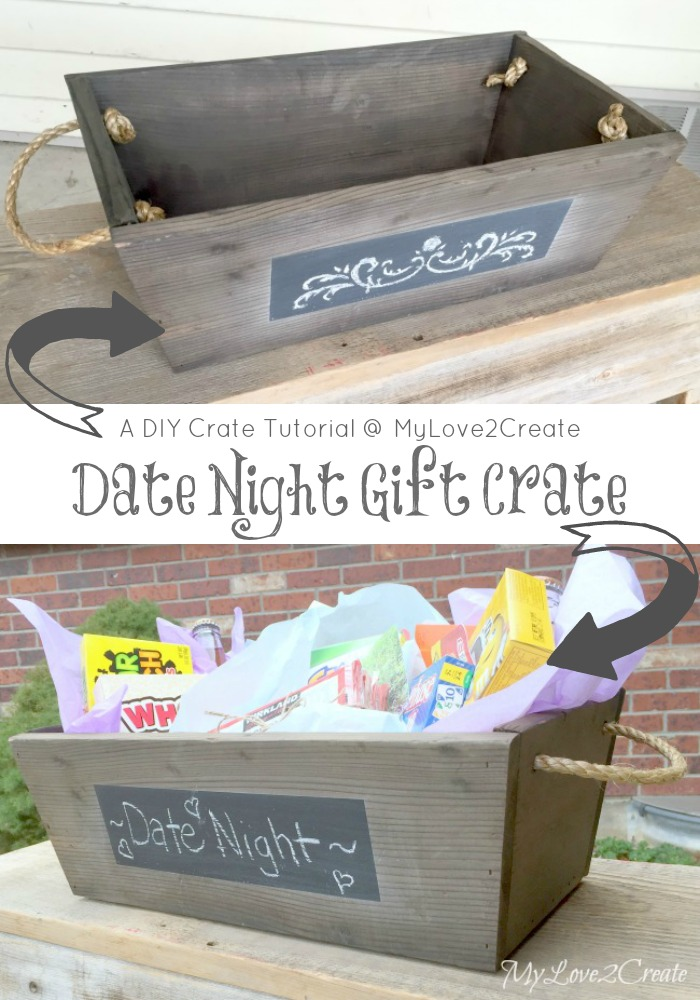 A super easy tutorial to build your own DIY crate!  Or build it for a friend and gift it with a fun theme, like a Date Night Gift Crate!
