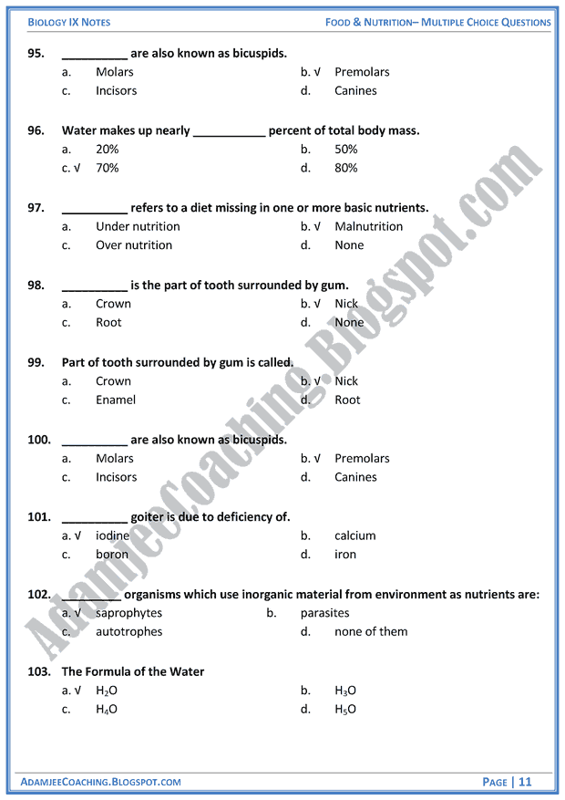 food-and-nutrition-multiple-choice-questions-biology-notes-for-class-9th