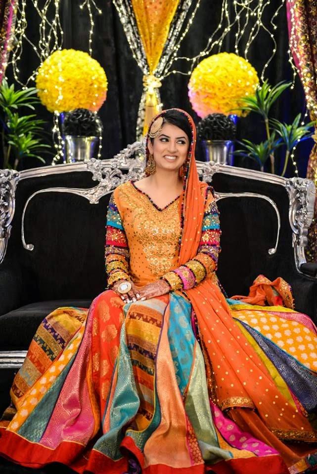 new bridal mehndi dress 2015