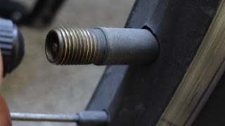Valve stem in bicycle wheel