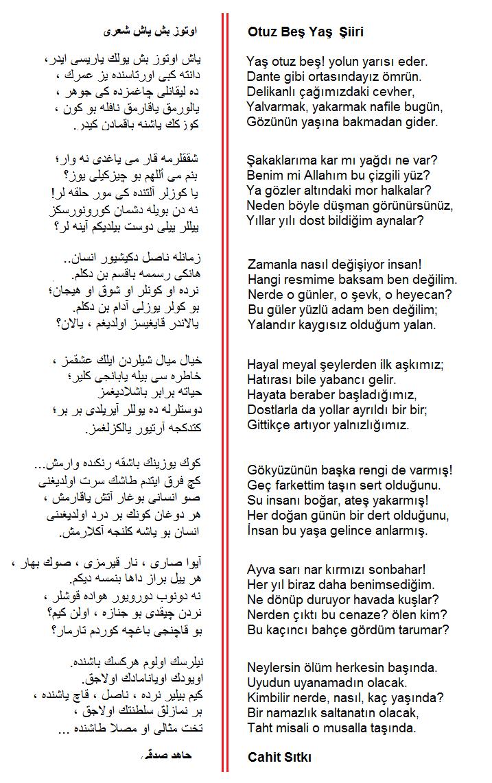 Cahit Sıtkı Tarancı 35 Yaş Şiiri incelemesi
