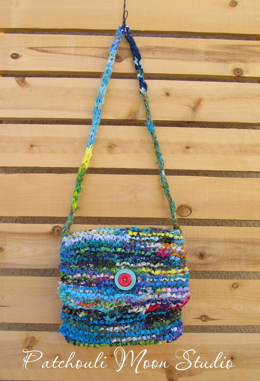 Patchouli Moon Studio: Small Batik Fabric Knit Bag