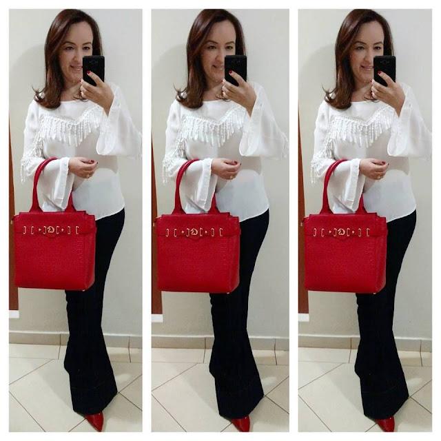 blog de moda em ribeirão preto, fashion blogger em ribeirão preto, blog camila andrade, fast fashion, ribeirão preto, blusa com manga flare, calça jeans flare, bolsa vermelha, scarpin vermelho, carmen steffens