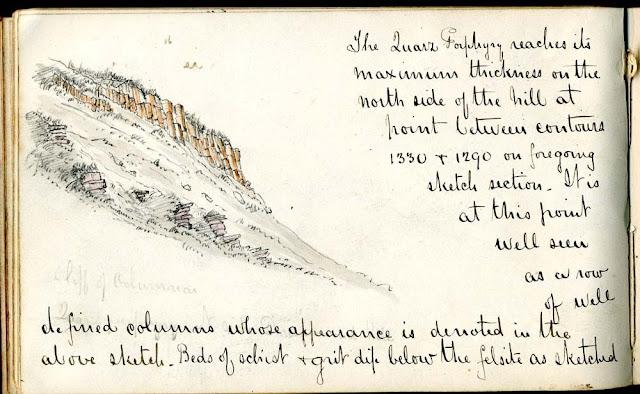 Drummond Hill, quartz porphyry columnar jointing. H.M. Cadell sketch.