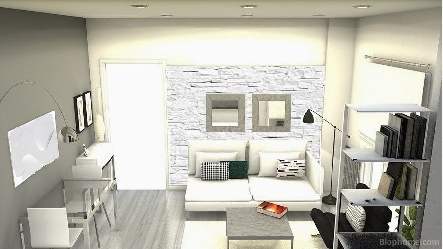 La maison 17 decoraci n interiorismo proyecto sal n - Salones decorados con piedra ...