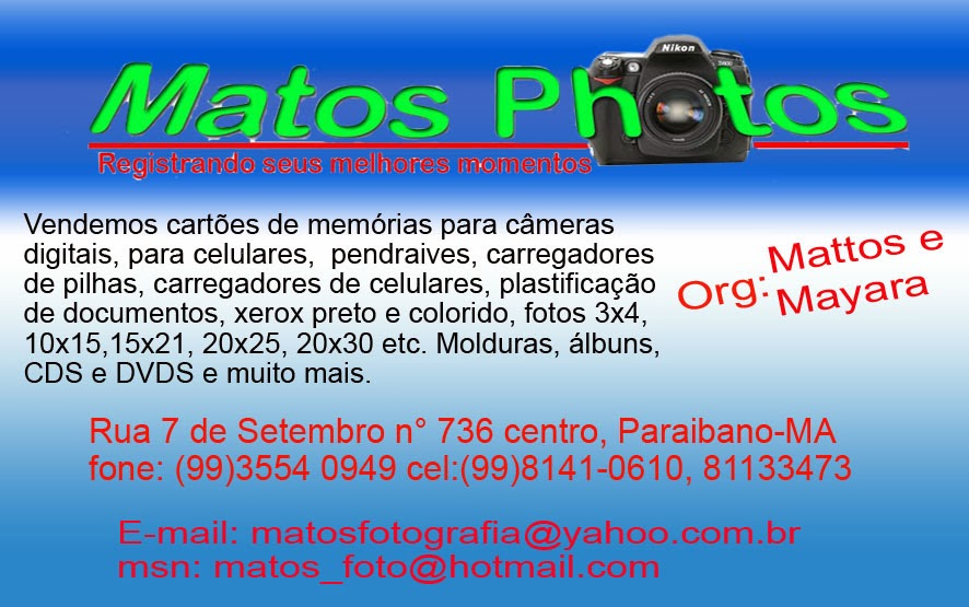 COBERTURA A TODOS OS TIPOS DE EVENTOS, FOTOS COM PROFISSIONAIS-RUA 7 Nº 736-CENTRO DE PARAIBANO/MA
