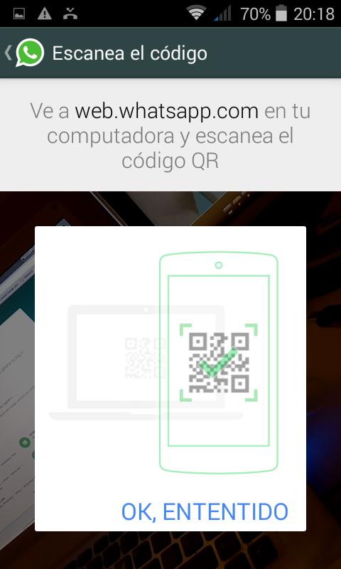 Versión web de WhatsApp, escanear código