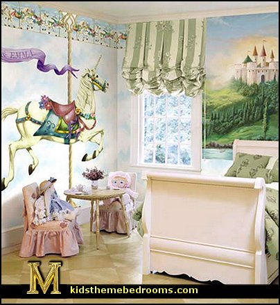 Decorating theme bedrooms maries manor carousel theme bedroom ideas carousel merry go round for Unicorn bedroom theme