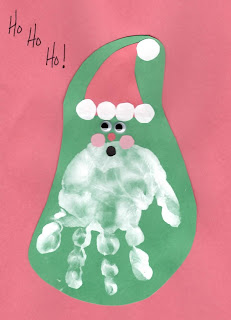 Christmas craft for kids and toddlers: hand print christmas craft or card www.thebrighterwriter.blogspot.com