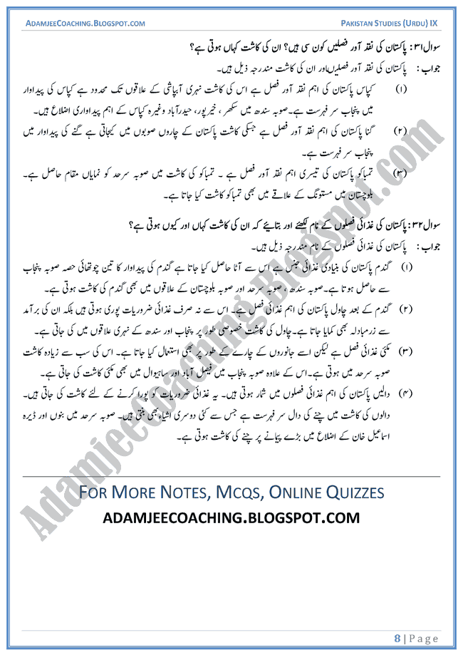 Resources-of-Pakistan-Short-Question-Answers-Pakistan-Studies-Urdu-IX