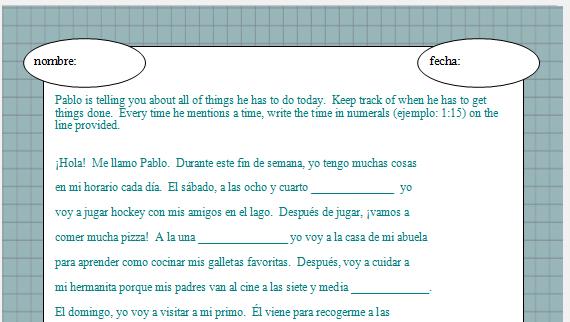 Spanish Reading Comprehension Practice Worksheets - Tecnologialinstante