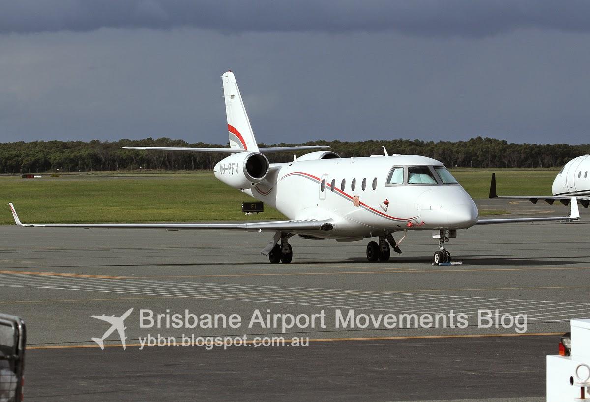 brisbane airport movements  gulfstream 150 vh