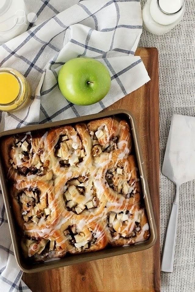 ambrosia: Apple Walnut Raisin Cinnamon Rolls