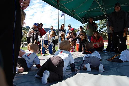 ハイハイでダッシュするキッズマラソン大会
