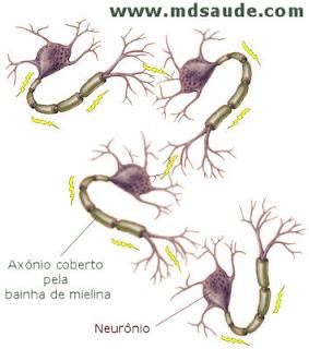 Impulsos elétricos viajando entre os neurônios