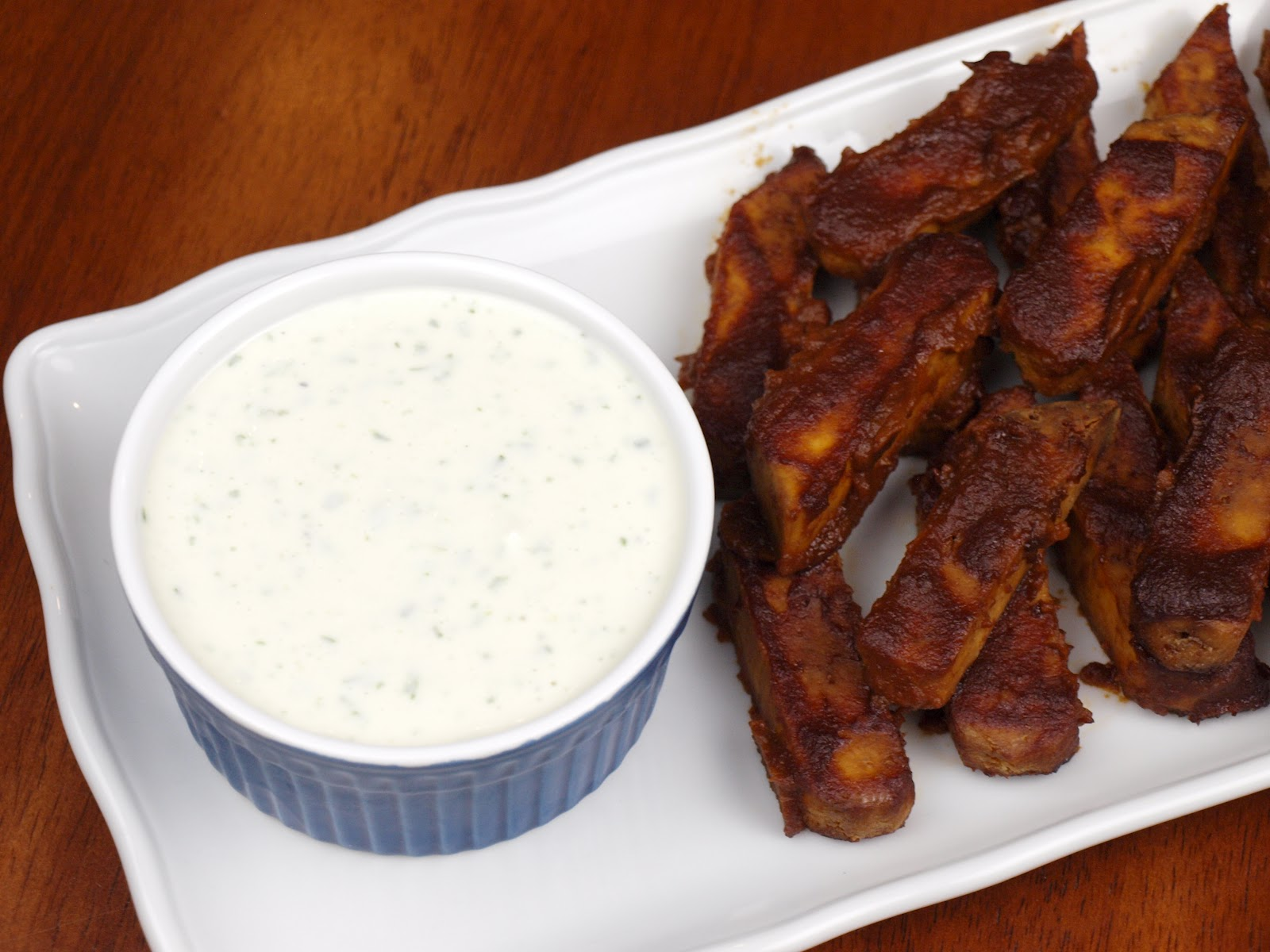 It S A Cookbook Bbq Tofu Wings Vegan Ranch Dressing