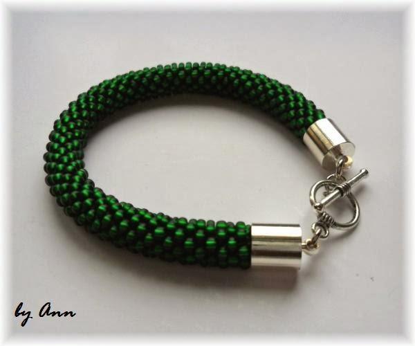 bransoletka wąż koralikowy intensywna zieleń