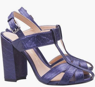 sandálias salto grosso em couro metalizado azul Luiza Barcelos inverno 2014