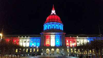 San Francisco City Hall lit up in support of France