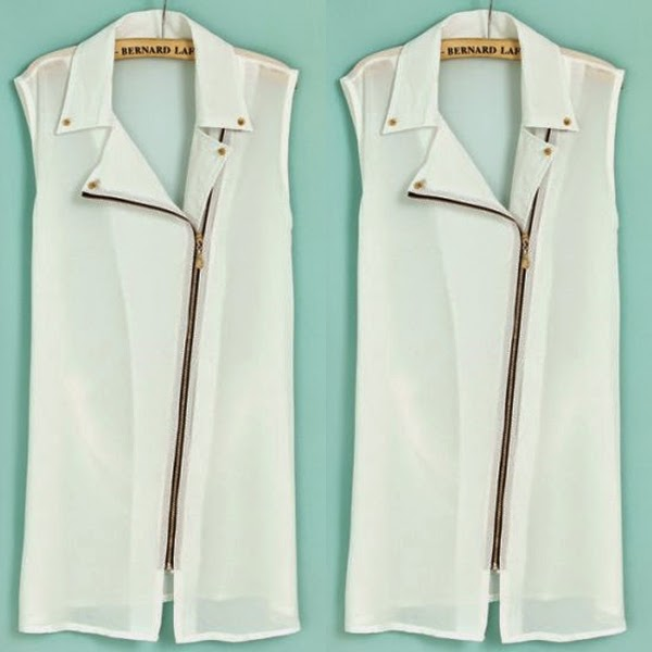 white front zip sleeveless chiffon top