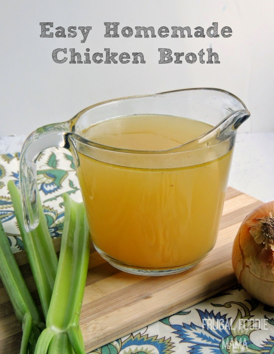 Easy Homemade Chicken Broth via thefrugalfoodiemama.com - make this ...