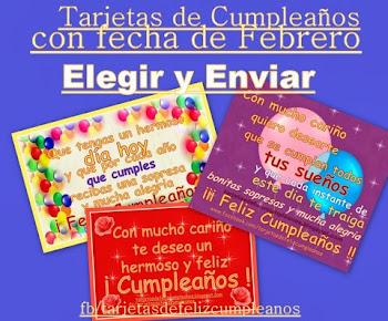 Febrero-Tarjetas de cumpleaños con fechas