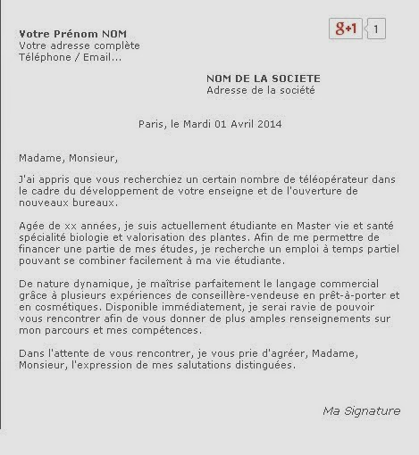 Lettre de motivation t l prospectrice lettre de - Definition commis de cuisine ...