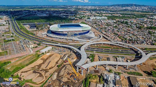 Arena do Grêmio localiza-se no bairro Humaitá, em Porto Alegre