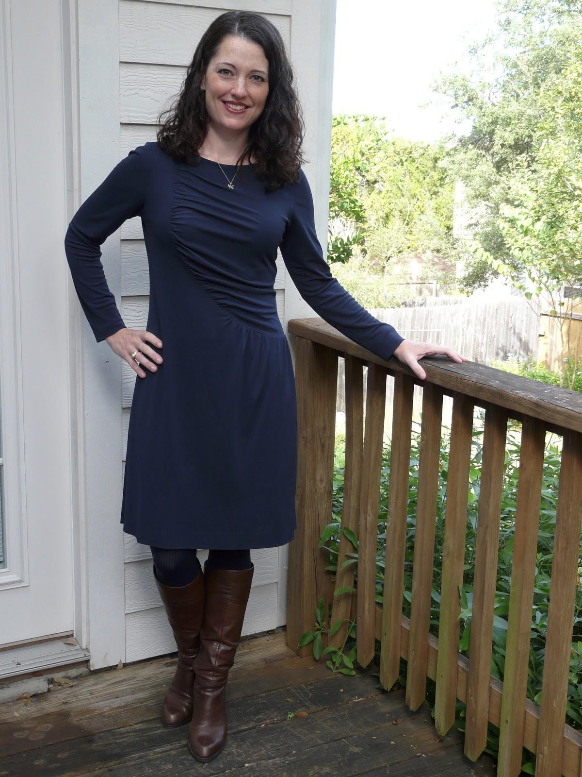Vogue 1283 Navy Viscose Knit Asymmetric Dress Amandas