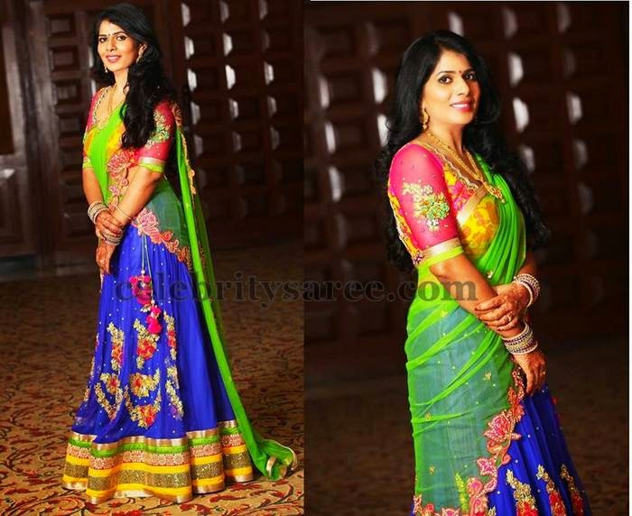 Bride in Maggam Work Half Saree