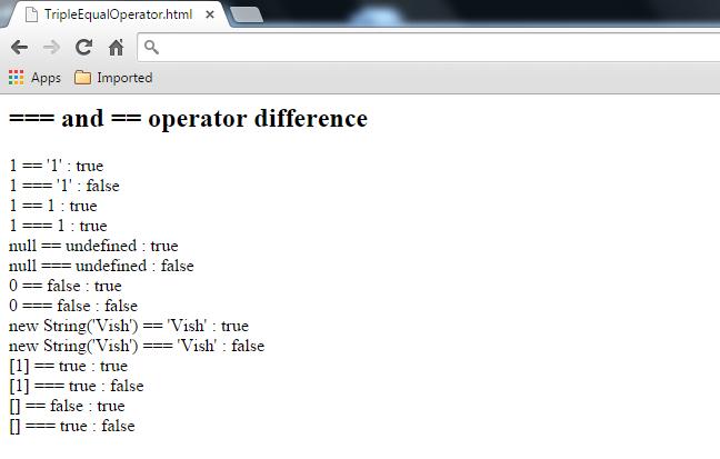 Vishal's Blog: JavaScript equality(==), strict equality ...